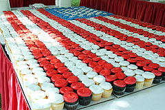 A US flag made out of cupcakes