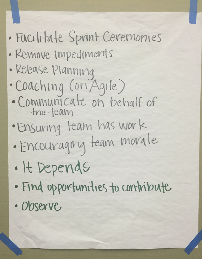 One Team's Definition of the Scrum Master Role