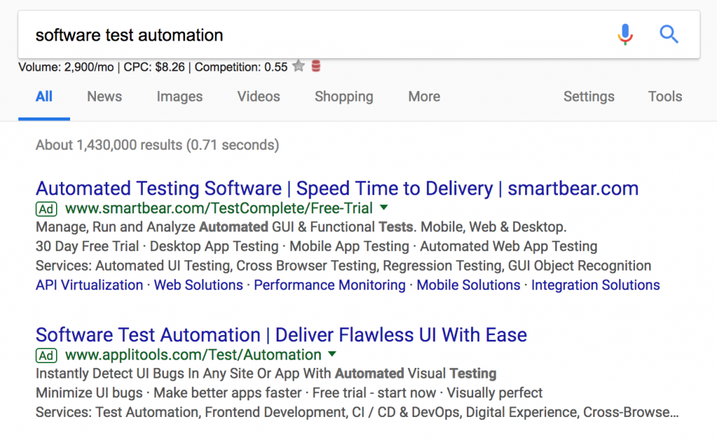 The first four search results are marketing