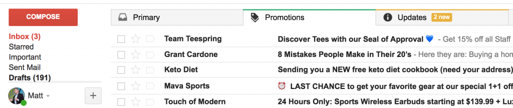 promotions - marketing emails