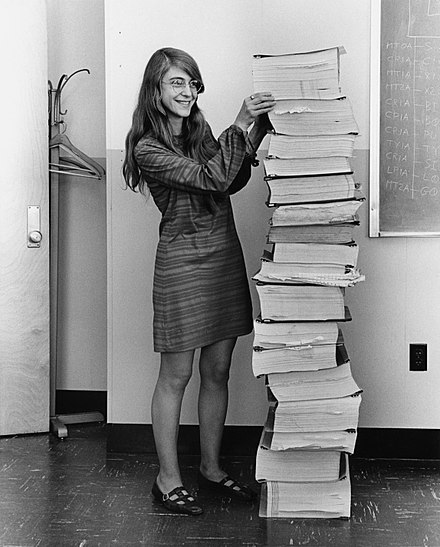 Margaret Hamilton with the system documentation for Gemini