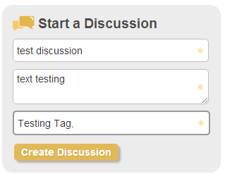 Start a Discussion box with sample text