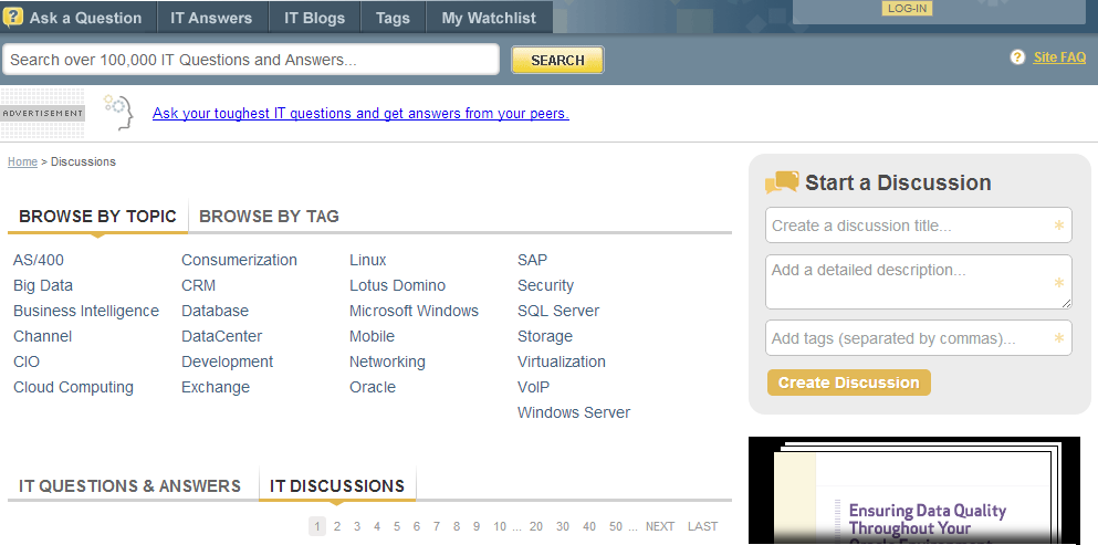 Discussions page