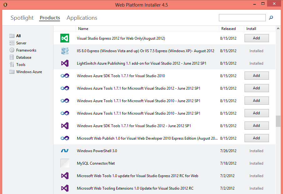 Webmatrix3_products_installer