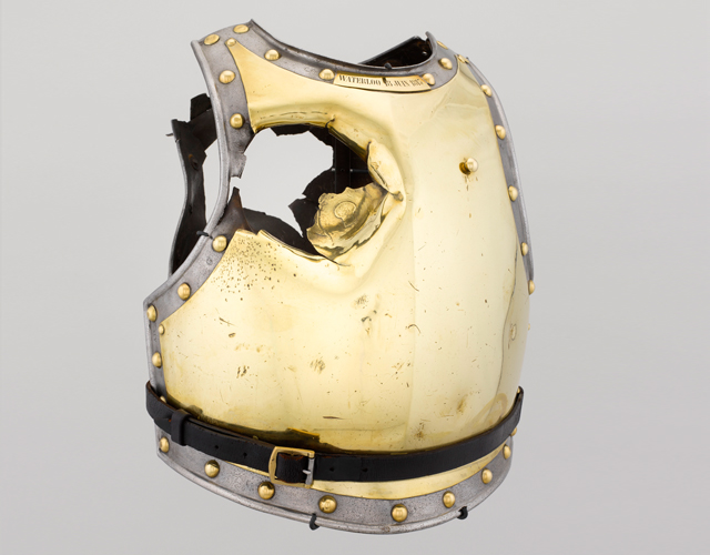 Armour of a cuirasse du carabinier holed by a cannonball at the battle of Waterloo