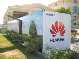 Huawei Shenzen HQ: even the shipping containers come with chrome panelling and flip up doors