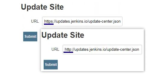 Fix SunCertPathBuilderException Jenkins plugin download errors with a URL edit.
