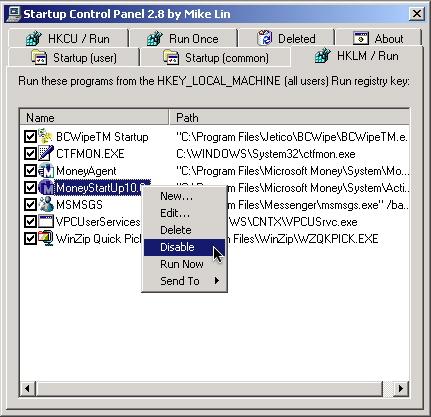 Startup Control Panel window