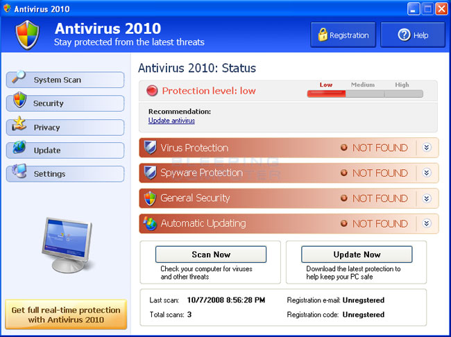 Bogus Anti-Virus warning