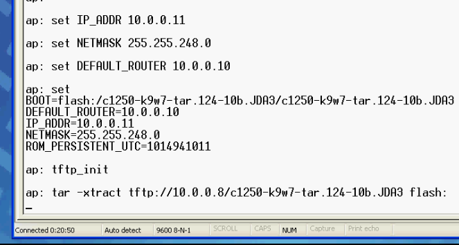 How to repair a corrupted IOS in Cisco 1250 access point