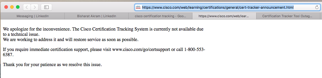 Cisco Certification Tracking Tool is not working - Network ...