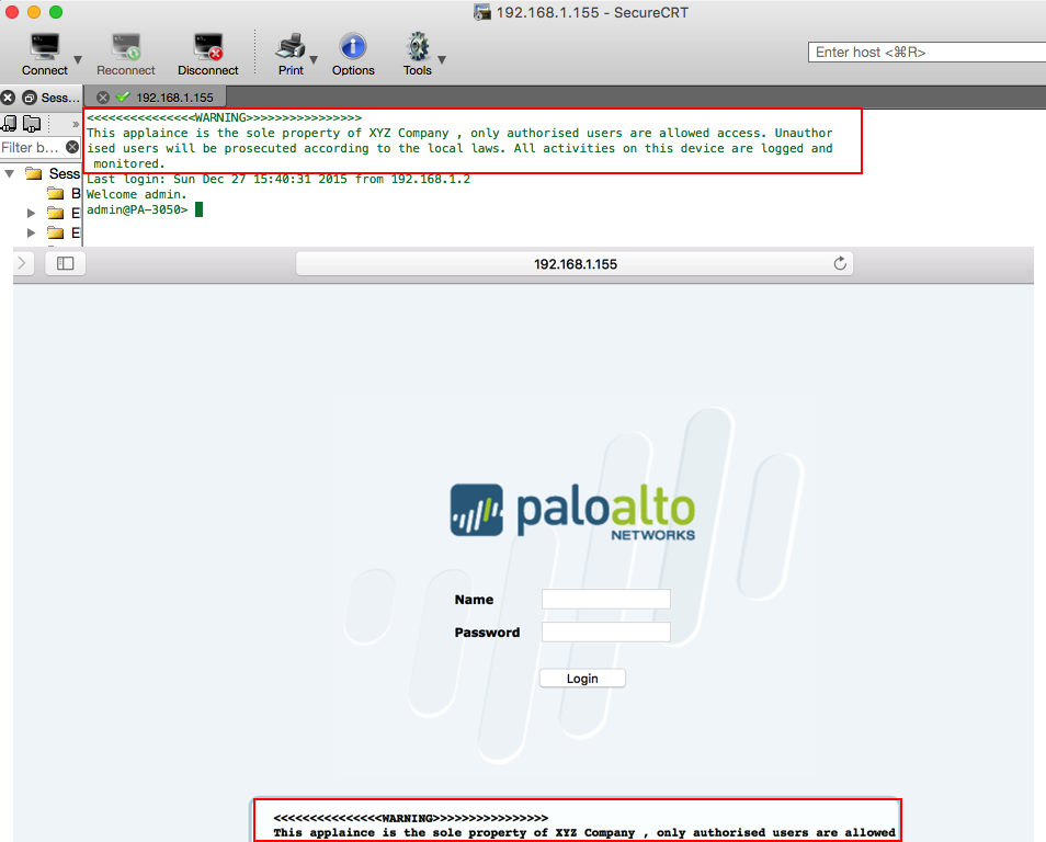How to configure a Login Banner in Palo Alto Networks