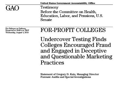 Cover page from GAO report