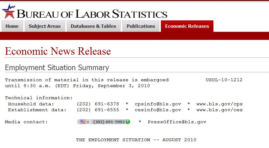 Title page for September 2010 Employment Situation Summary