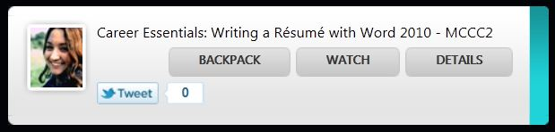 The recording tab for the Resume Workshop at MCCC