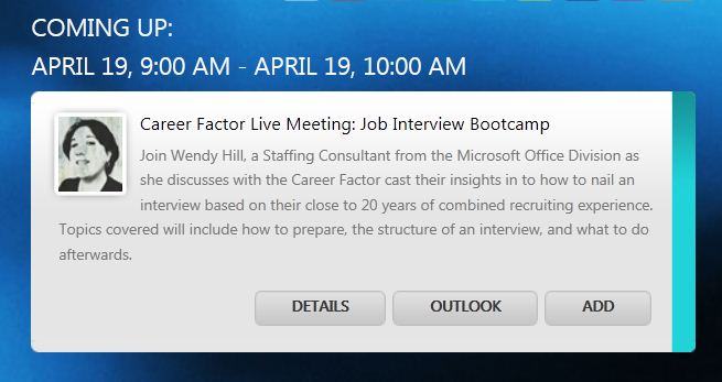 Agenda entry at MCCC site for job interview bootcamp 4/19/2011