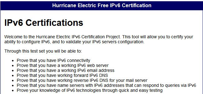 Here is the overview of the He.net IPv6 cert program