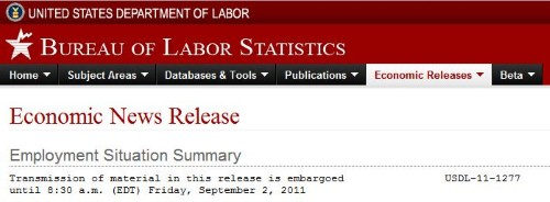 September 11 Employment Situation Summary Headline