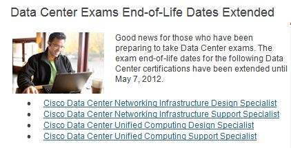 Data Center Specialist certs for network infrastructure and unified computing extended