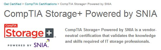 CompTIA's Storage+ home page logo header