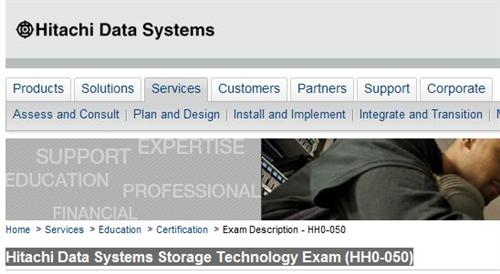 Banner from HDS home page for HH0-050 exam.