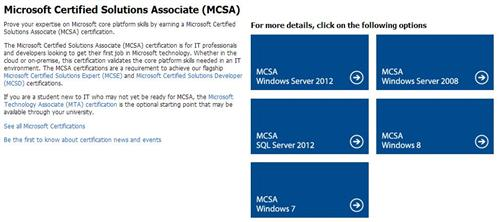 The desktop MCSAs are finally present on the MCSA overview page.