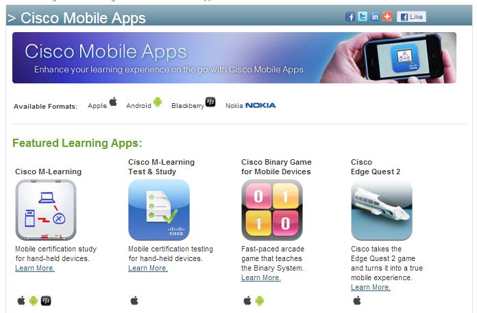 Banner and most popular apps from the Cisco Mobile Apps page.
