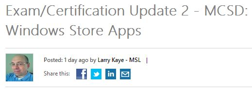 Heading from recent BTL post notifying candidates of upcoming changes to MCSE: Windows Sotre Apps.