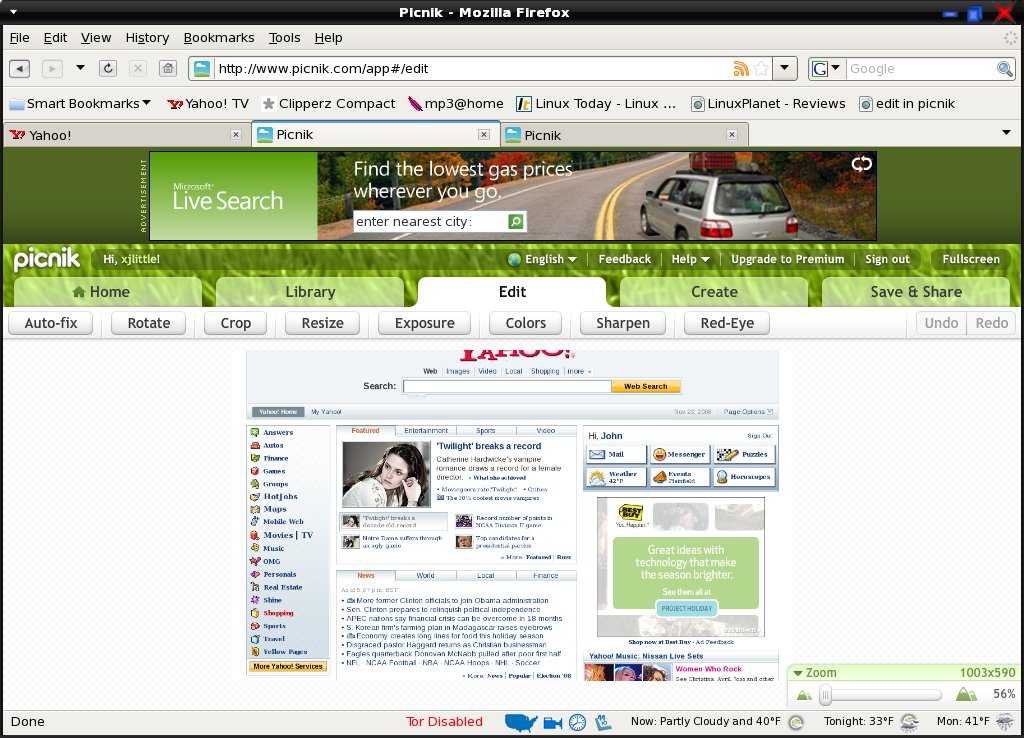 partial Yahoo home page directed into picnik with right click
