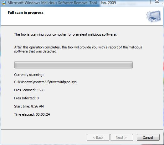 The Malicious Software Removal Tool Reports status as it scans