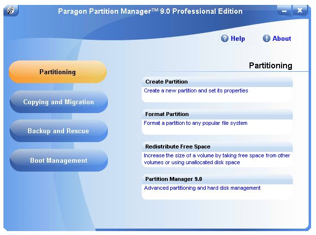 The Partition Manager Entry screen shows major functionality groups.