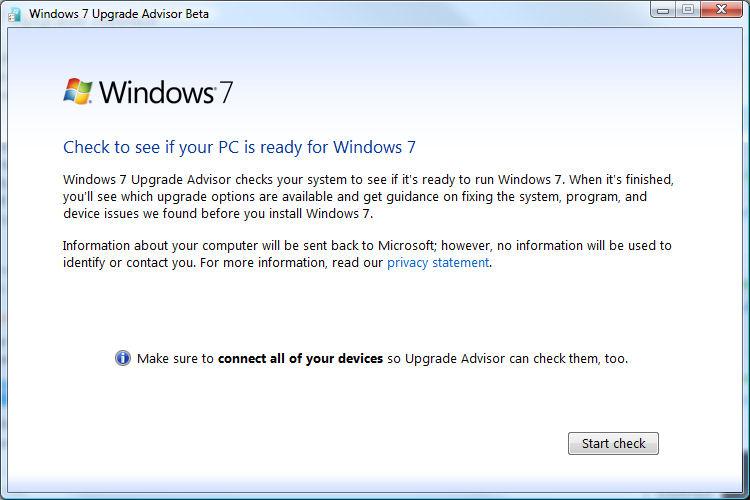The Windows 7 Upgrade Advisor Startup screen