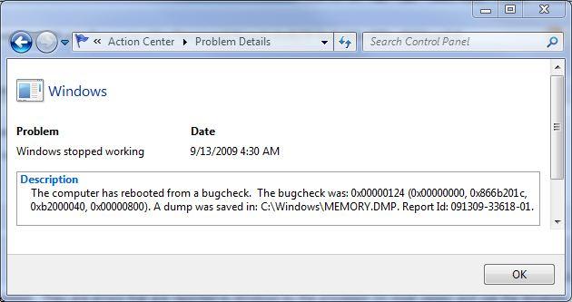 Windows 7 Stop Error 0x00000124