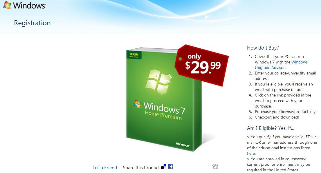 Windows 7 Student Offer