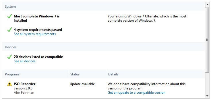 At the bottom, W7UA tells you which programs need upgrades for Win7