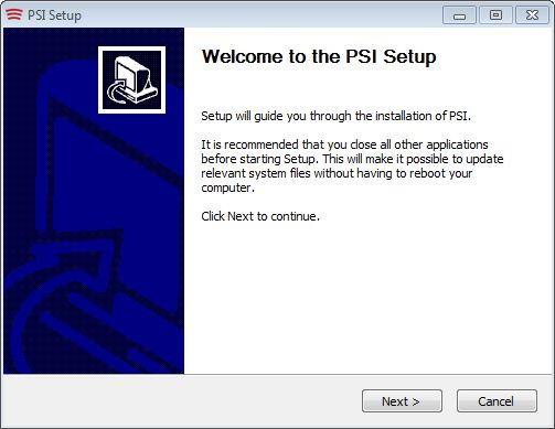 Next the installer begins the actual PSI 2.0 installation