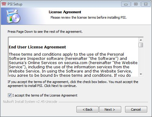 The obligatory EULA screen requires your assent