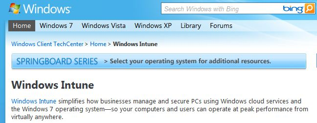 Banner from the MS InTune Page