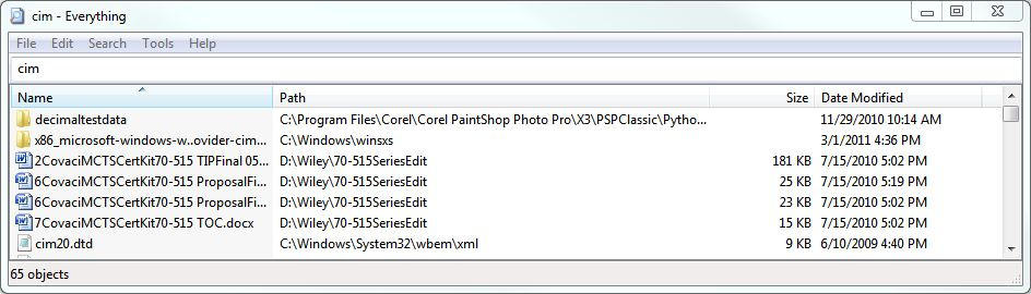 """Everything searches all 4 of my drives for """"cim"""" in under 1 second"""
