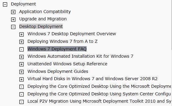 Windows 7 Deployment content in TechNet