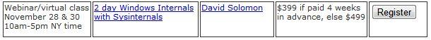 Listing from Solomon Expert Seminar Site