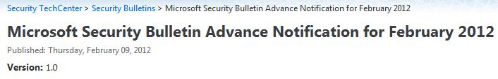 Headline for MS February 2012 Advance Security Bulletin