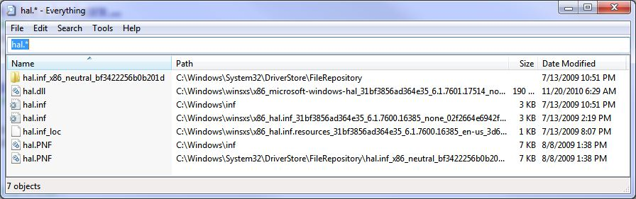Here is the HAL in Win7