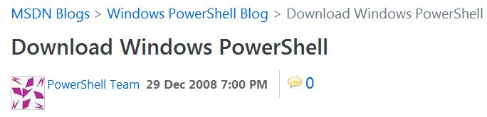 Download links are kept up in the PowerShell blog
