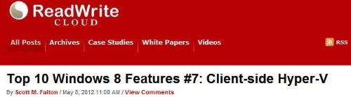 Client-side Hyper-V Makes the top 10 for Scott Fulton