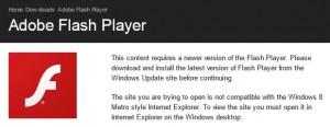 Metro flash error shows up when running desktop IE