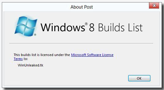 WinUnleaked.info's Windows 8 Builds list