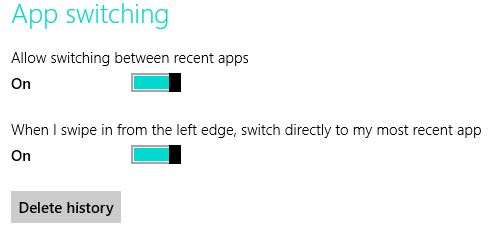 The Delete history button under App Switching closes open apps too.