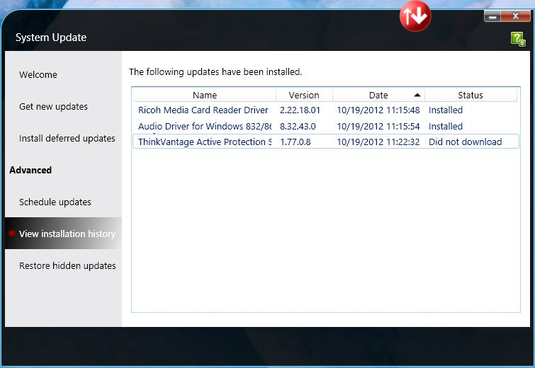 Two hits and a miss from the Lenovo System Update utility.