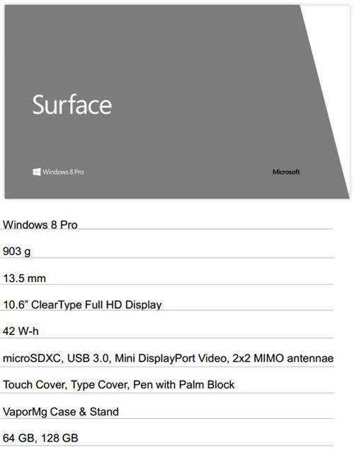 Microsoft Specs for Windows 8 Pro Surface tablet PC.
